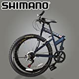 "New 26"" Folding Mountain Bike Foldable Bicycle 6 SP Speed Shimano, Navy Blue Color"