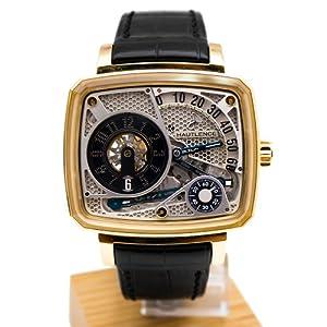 Hautlence HL HL01 43.8mm Automatic 18K Gold Case Black Leather Anti-Reflective Sapphire Men's Watch