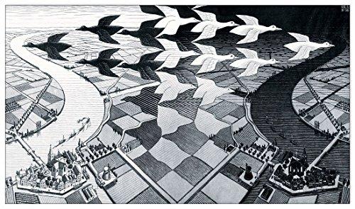 Artopweb Escher Day and Night Pannello MDF, Legno, Bordo Nero