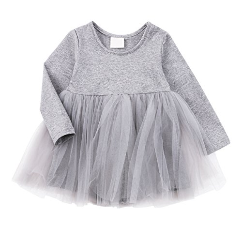 Baby Girl Dress Toddler / Kids Pleated Princess Tutu Skirt with Tshirt Top Grey 80cm(9-12M)