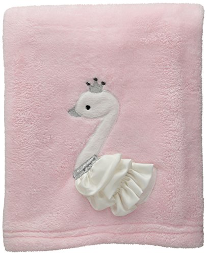 Lambs & Ivy Swan Lake Blanket, Pink/White/Grey