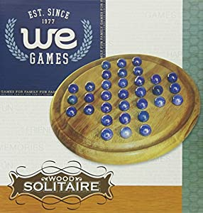 Solid Wood Solitaire with Blue Glass Marbles - 9 in. Diameter