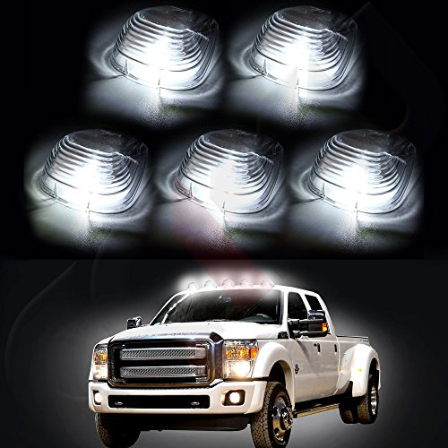 CCIYU 5 LED Clear Cab Roof Running Lights Fit For 99-11 Ford F250 F350 Pick Up W5W 194 168 2825 152 (2000 F250 Cab Lights compare prices)