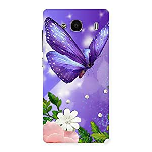 Delighted Voilate Butterfly Back Case Cover for Redmi 2 Prime