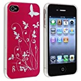 EFuture(TM) Hot pink slim flower butterfly hard back caso cover fit for iphone 4 4G 4S. +eFuture's nice Keyring