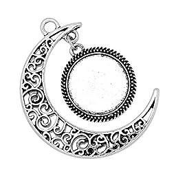 20pcs moon pendant tray,16mm round pendant bezel,metal filled pendant blank,pendant setting,Antique Silver