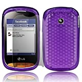Purple LG Cookie Style T310 Hexagon Diamond Shape Hydro Soft Hex TPU Silicone Gel Skins Mobile Phone Mobile Phone Case Cover With Free Ultra Clear LCD Screen Film Protector
