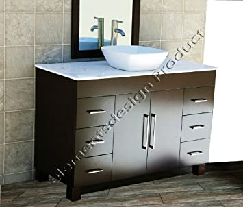 "solid wood 48"" Bathroom Vanity Cabinet CMS48W White Tech Stone (Quartz) Top Ceramic Vessel Sink+ Faucet"