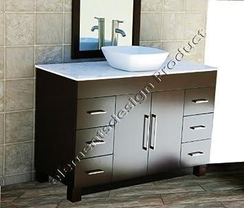 "solid wood 48"" Bathroom Vanity Cabinet CMS48W White Tech Stone (Quartz) Top Ceramic Vessel Sink+ Faucet"