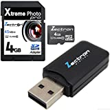 Free Micro USB card reader when you buy a 4GB Micro Class 6 SD SDHC High Speed Zectron Digital Camera Memory Card for Pentax Optio S12 digital Camera Camcorder Video