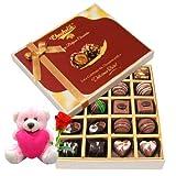 Valentine Chocholik Belgium Chocolates - Very Nice Decorated Chocolate Box With Teddy And Rose