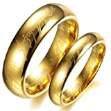 Dreamslink 18K Gold Plated Lord Of The Rings Pure Tungsten carbide With Bible Engaved Couple Ring Wedding Band