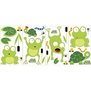 Snap Kids GAPP1936 Pond Life Frogs Appliques, Green