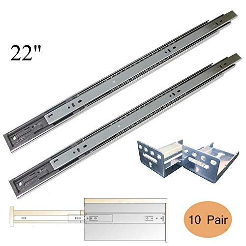 Gobrico Rear Mount Drawer Slides+Brackets Full Extension Heavy Duty Soft Close 22 Inch,10 Pairs Sets (Drawer Slow Close compare prices)