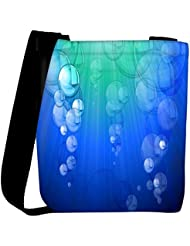 Snoogg Blue Bubble Vector Background Womens Carry Around Cross Body Tote Handbag Sling Bags