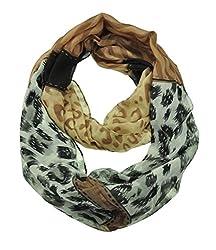 WishCart Women's Infinity Circle Scarf Lightweight Leopard and Zebra Printing -Kahki+White