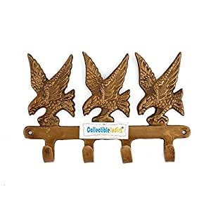 Collectible India Brass Key Holder Eagle Bird Design Wall