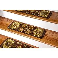 Dean Premium Super Soft Nylon Carpet Stair Treads/Runner Rugs - Renassaince Brown - Set of 15