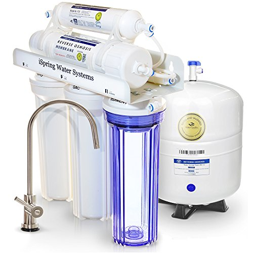 iSpring-RCC7-Most-Popular-Built-in-USA-WQA-Gold-Seal-Certified-Top-Notch-5-Stage-75-GPD-Reverse-Osmosis-Water-Filter-w-Transparent-1st-Stage-Designer-Faucet