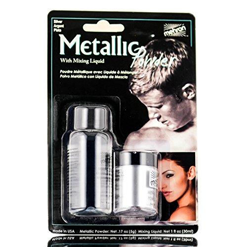 Mehron Metallic Powder with Mixing Liquid, 1 oz, Silver