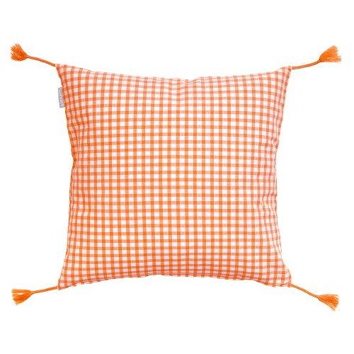 LINUM Kissenhülle NINA D51 orange und weiß kariert 40cm x 40cm , Kissenbezug, Kissen, Dekokissen Wohntextilien