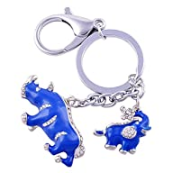Feng Shui Blue Rhinoceros and Elephant Protection KeyChain Charm Amulet Handbag Hanging W1041