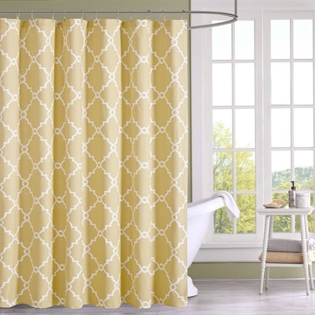 Madison Park Saratoga Shower Curtain Yellow 72x72