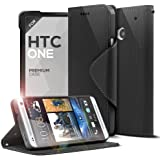 Cellto HTC ONE Premium Wallet Case with Reversible Magnetic Flap [Slim Ultra Fit] [Smooth Black] Diary Cover /w ID Pocket (HTC ONE 2013, M7) - With Life Time Warranty