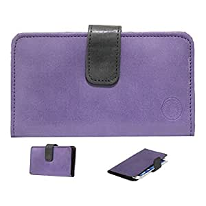 Jo Jo A8 Nillofer Leather Carry Case Cover Pouch Wallet Case For Panasonic Eluga U Purple Black