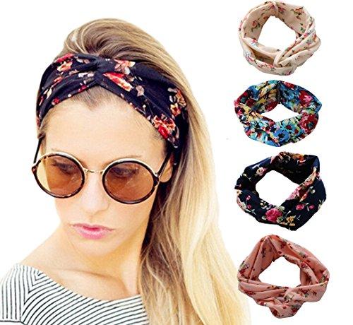 DRESHOW 1950's Vintage Flower Headbands for Women Twist Elastic Turban Headband Head Wraps Cute Hair Band Accessories (Vintage Head Wraps compare prices)