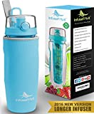 Infuser Water Bottle with Unique Full Length Infuser and Insulating Sleeve - Multiple Colors Options - Large 32 Oz Sport Water Bottle - Your Healthy Hydration Made Easy - Azure Blue
