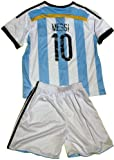 FWC 2014 Argentina Home Messi 10 Futbol Football Soccer Kids Jersey & Short