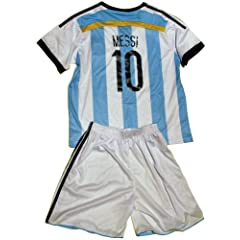 Buy FWC 2014 Argentina Home Messi 10 Futbol Football Soccer Kids Jersey & Short by AFA