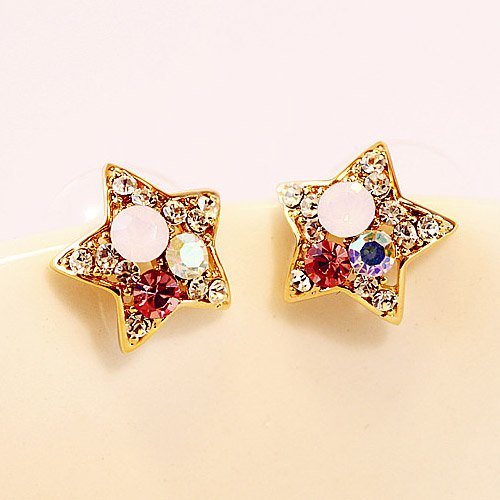 Star shape diamond crystal earrings Picture