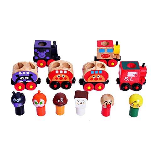 Shina Set of 6 Wooden Magnetic Bread-shape Little Train Model Educational Toys - 1