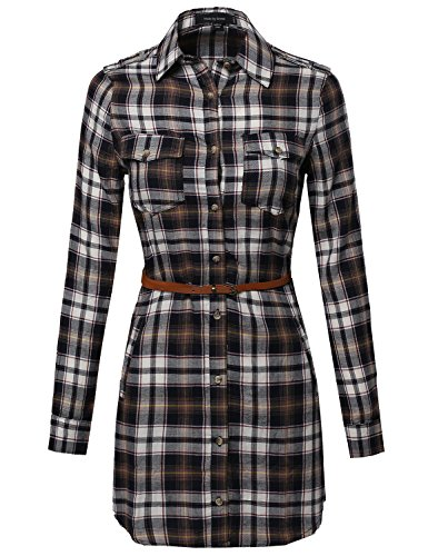 Super Cute Flannel Plaid Checker Shirts Dress with Belt Navy M Size