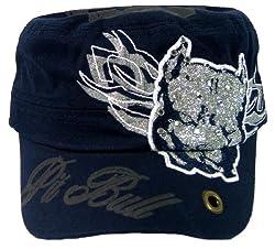 Pit Bull Rhinestone Glitter Cadet Military Style Cap (Navy)