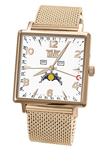 Davis-1736MB-Mens Rosegold Square Moonphase Watch-White Dial-Day Date Month-Mesh Milanese Metal Band