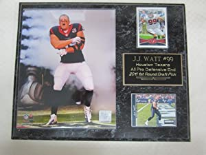 J.J. Watt Houston Texans 2 Card Portrait Collector Plaque by J & C Baseball Clubhouse