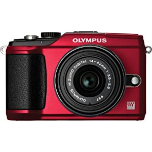 Olympus PEN E-PL2 12.3 MP CMOS Micro Four Thirds Interchangeable Lens Digital Camera with 14-42mm Lens (Red)