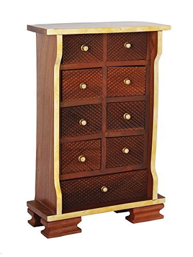 Diwali Gifts Fine Wooden Chest of 9 Drawers Multipurpose Mini Armoire Jewelry Trinket Girls Accessories Stationary Art Craft Sewing Tools Holder Organizer Box - Home Dresser Tabletop Cabinet Furniture (Cabinet Tabletop compare prices)