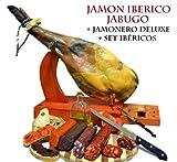 Set Jamon Ham Iberico de Bellota 4.5-5 kg Pata Negra Jabugo + holder + knife + sausages 1 kg