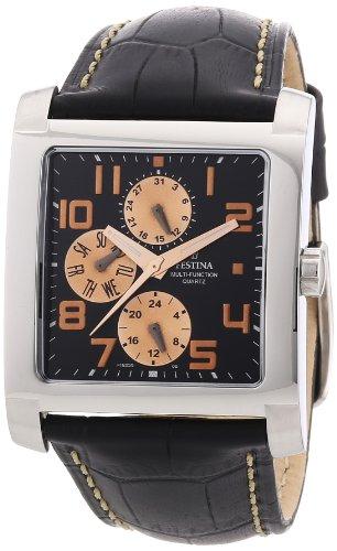 Festina F16235/D - Reloj cronógrafo de cuarzo para hombre con correa de piel, color negro