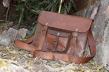 HLC Leather Unisex 100% Genuine Real Leather Messenger Bag for Laptop Briefcase Satchel 2