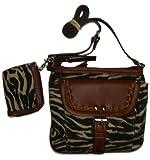 Franco Sarto Women's/Girl's Xbody/Crossbody Handbag, Zebra Print/Brown