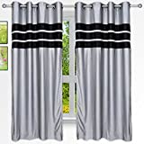 Story@Home 5 feet Set of 2 happiness 2 Piece Plain Pattern Ice Crush Curtains Silver