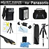 Must Have Accessory Kit For Panasonic HC-V700, HC-V700M, HC-V500, HC-V500M, HC-V100, HC-V100M, HC-V10 Camcorder Includes Replacement (2000Mah) VW-VBK180 Battery + Ac/ Dc Charger + Deluxe Case + Tripod + Mini HDMI Cable + USB 2.0 SD Reader + Much More