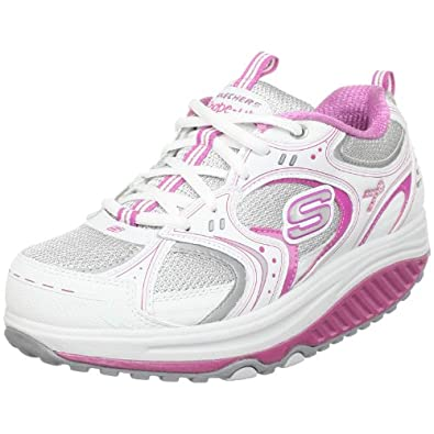 Skechers Women's Breast Cancer Awareness Walking Shoe,White/Silver/Pink,5 M US