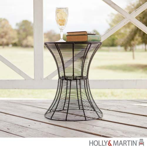 "Metal Spiral Accent Table (Black) (18.5""H x 14.75""W x 14.75""D)"