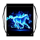 Abstact Running Blue Flaming Horse Art Print Drawstring Backpack Basketball Drawstring Bags (Twin Sides)